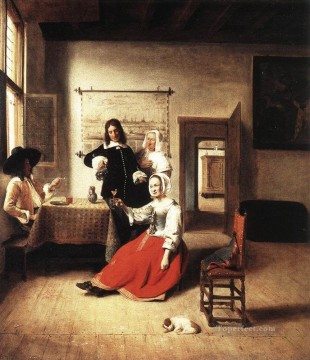 drinking - Young Woman Drinking genre Pieter de Hooch