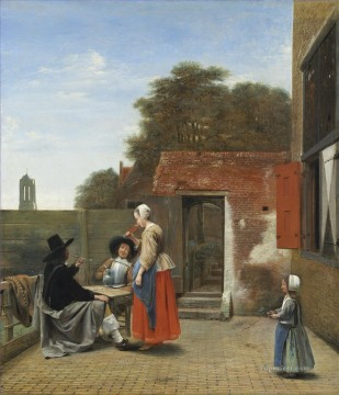 A Dutch Courtyard genre Pieter de Hooch Oil Paintings