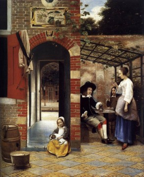 drinking works - Figures Drinking in a Courtyard genre Pieter de Hooch
