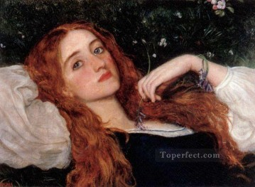 Arthur Hughes Painting - In the Grass second version Pre Raphaelite Arthur Hughes