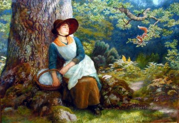 Arthur Hughes Painting - Asleep in the Woods Pre Raphaelite Arthur Hughes