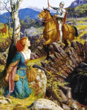 Arthur Hughes Painting - Overthrowing of the Rusty Knight Pre Raphaelite Arthur Hughes