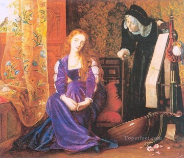 aka works - The Pained Heart aka Sigh no more ladies sigh no more Pre Raphaelite Arthur Hughes