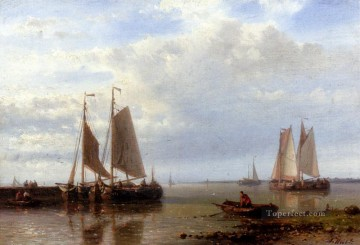 Shipping In A Calm Estuary Abraham Hulk Snr Oil Paintings