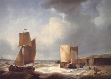Coast Painting - Fisherfolk and Ships by the Coast Abraham Hulk Snr