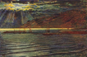 Fishingboats by Moonlight British William Holman Hunt Oil Paintings