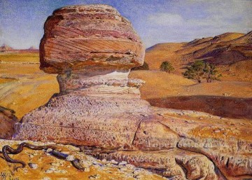 hunt Painting - The Sphinx Gizeh Looking towards the Pyramids of Sakhara British William Holman Hunt