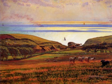 Sun Oil Painting - Fairlight Downs Sunlight on the Sea British William Holman Hunt
