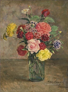 Carnations Art - STILL LIFE WITH ROSES AND CARNATIONS IN A GLASS JAR Ilya Mashkov