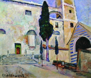 Artworks by 350 Famous Artists Painting - cypress in the cathedral walls italy 1913 Ilya Mashkov
