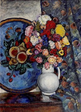 Ilya Ivanovich Mashkov Painting - still life flowers in a vase with tray Ilya Mashkov