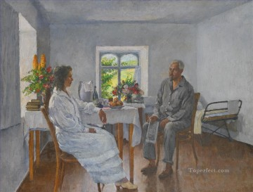 Ilya Ivanovich Mashkov Painting - MARGARITA IVANOVNA AND ZINOVY PETROVICH SOLOVIEV ON HOLIDAY AT ARTEK Ilya Mashkov