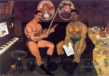 Ilya Ivanovich Mashkov Painting - self portrait and a portrait of pyotr konchalovsky 1910 Ilya Mashkov