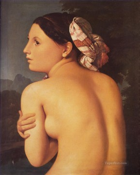 Half figure of a Bather nude Jean Auguste Dominique Ingres Oil Paintings