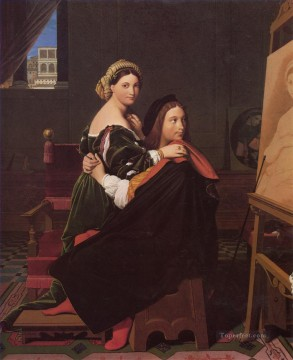 neoclassical neoclassicism Painting - Raphael and the Fornarina Neoclassical Jean Auguste Dominique Ingres