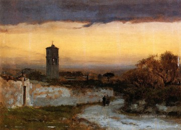 Inness Canvas - Monastery at Albano Tonalist George Inness