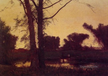 George Inness Painting - Sunset2 Tonalist George Inness