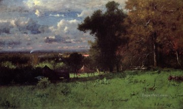 George Inness Painting - A Breezy Autumn Tonalist George Inness