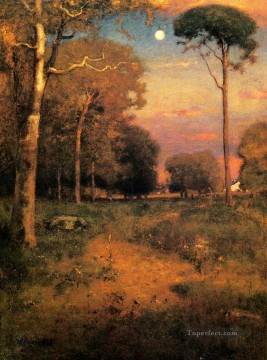 George Inness Painting - Early Moonrise Florida aka Early Morning Florida Tonalist George Inness