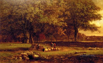 George Inness Painting - Evening Tonalist George Inness