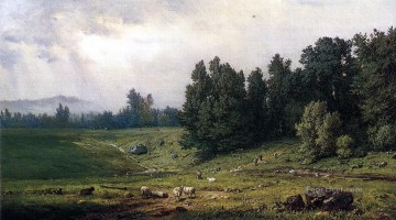 Inn Painting - Landscape with Sheep Tonalist George Inness