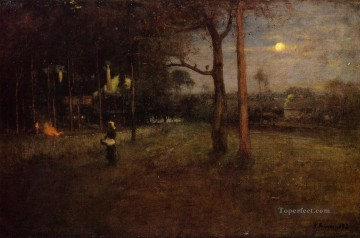 George Inness Painting - Moonlight Tarpon Springs Florida Tonalist George Inness