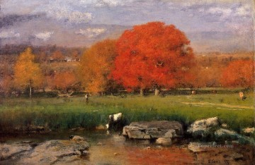 cat cats Painting - Morning Catskill Valley aka The Red Oaks Tonalist George Inness