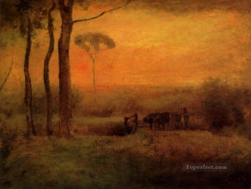 George Inness Painting - Pastoral Landscape At Sunset Tonalist George Inness