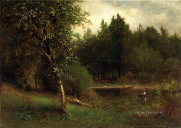 George Inness Painting - River Landscape Tonalist George Inness