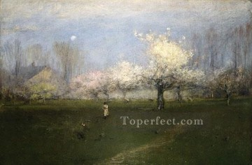 George Inness Painting - Spring Blossoms Montclair New Jersey Tonalist George Inness