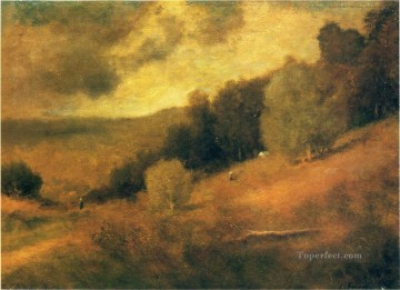 George Inness Painting - Stormy Day Tonalist George Inness