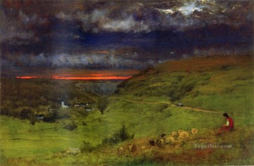 Etretat Art - Sunset at Etretat Tonalist George Inness