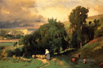 George Inness Painting - Hillside at Etretet Tonalist George Inness