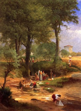 italian Painting - Washing Day near Perugia aka Italian Washerwomen Tonalist George Inness
