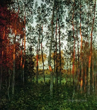 Artworks by 350 Famous Artists Painting - the last rays of the sun aspen forest 1897 Isaac Levitan