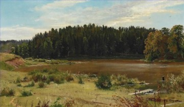 River on the edge of a wood classical landscape Ivan Ivanovich Oil Paintings