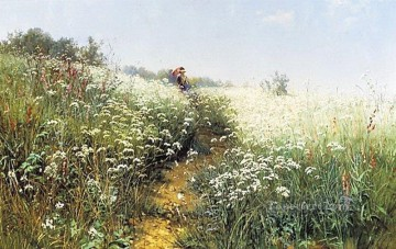 a woman under an umbrella on a flowering meadow 1881 classical landscape Ivan Ivanovich Oil Paintings