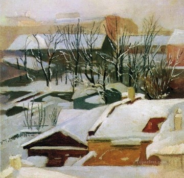 city roofs in winter snow Ivan Ivanovich Oil Paintings