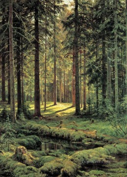 coniferous forest sunny day 1895 classical landscape Ivan Ivanovich Oil Paintings