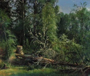 fallen tree 1875 classical landscape Ivan Ivanovich Oil Paintings