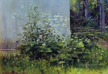 Ivan Ivanovich Shishkin Painting - flowers at the fence classical landscape Ivan Ivanovich