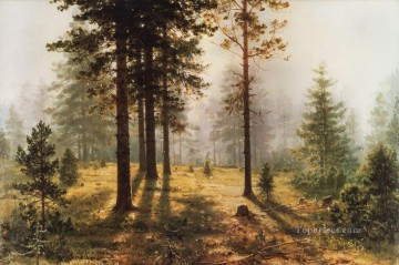 fog in the forest classical landscape Ivan Ivanovich Oil Paintings