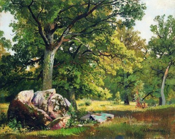 sunny day in the woods oaks 1891 classical landscape Ivan Ivanovich Oil Paintings