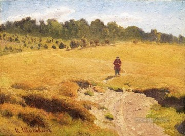 the boy in the field classical landscape Ivan Ivanovich Oil Paintings