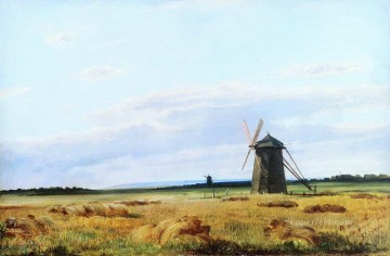 windmill in the field 1861 classical landscape Ivan Ivanovich Oil Paintings