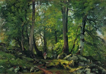 beech forest in switzerland 1863 1 classical landscape Ivan Ivanovich Oil Paintings