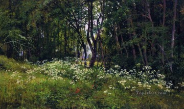 flowers on the forest edge 1893 classical landscape Ivan Ivanovich Oil Paintings