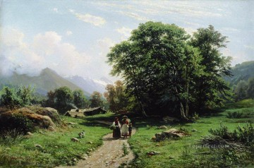 swiss landscape 1866 Ivan Ivanovich Oil Paintings
