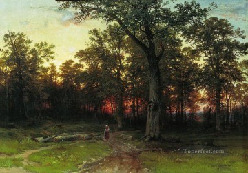 wood in the evening 1869 classical landscape Ivan Ivanovich Oil Paintings