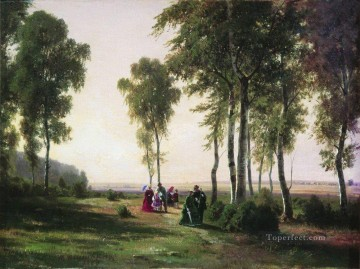 landscape with walking people 1869 Ivan Ivanovich Oil Paintings